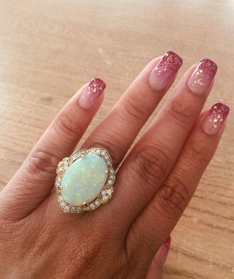 Women's 9.93 Carat Opal Diamond 14 Karat Yellow Gold Ring For Sale
