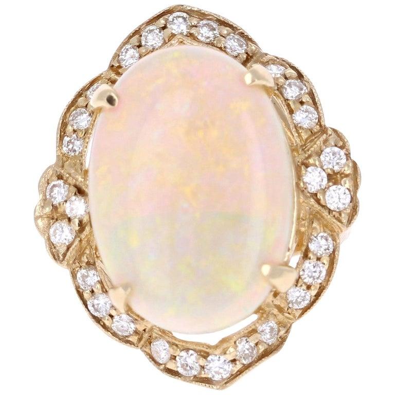 9.93 Carat Opal Diamond 14 Karat Yellow Gold Ring For Sale
