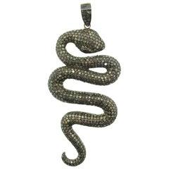 9.93 Carat Pave Diamond Snake Pendant in Oxidized Sterling Silver, 14 Karat Gold