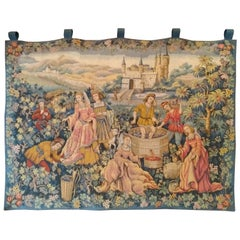 994 - Magnificent Jaquar Tapestry Vintage Aubusson Style Medieval Design