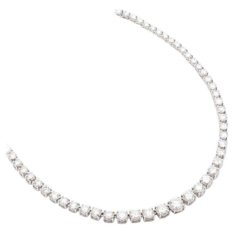 9.95 Carat Graduated Riviera Diamond Necklace in 18 Karat White Gold