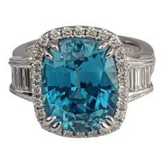 DiamondTown 9.95 Carat Oval Cut Blue Zircon and 0.74 Carat Diamond Ring