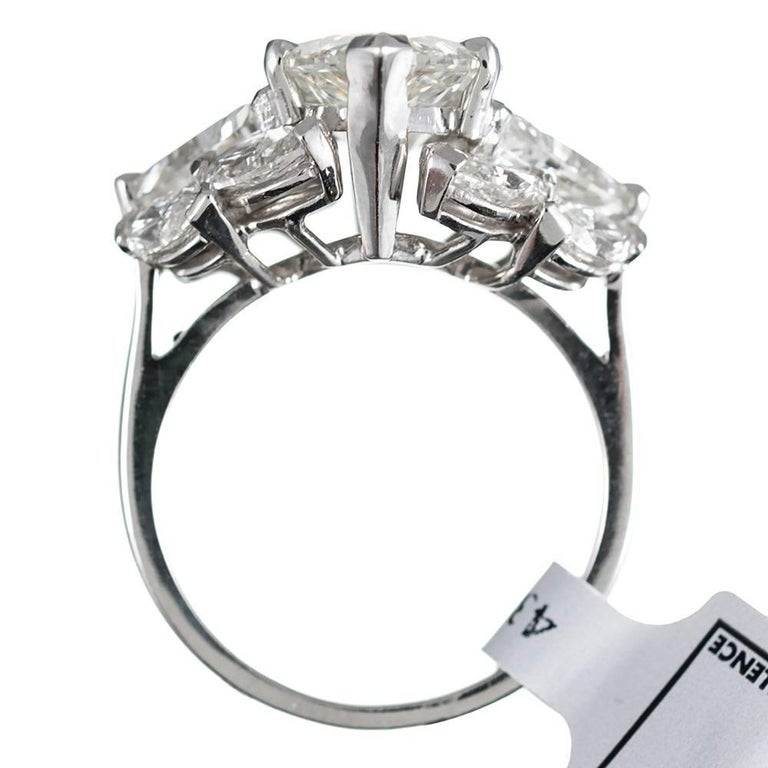 Women's 9.95 Carat Total Marquise and Trillion Diamond Ring For Sale