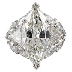 9.95 Carat Total Marquise and Trillion Diamond Ring