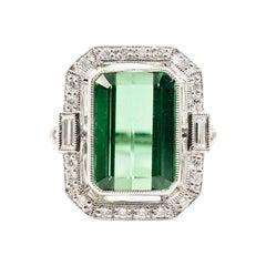 9.96 Carat Green Emerald Cut Tourmaline and Diamond Platinum Cocktail Ring