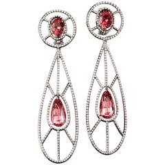 9.96 Carat Neon Pink Spinel White Diamond Platinum Chandelier Stud Earrings