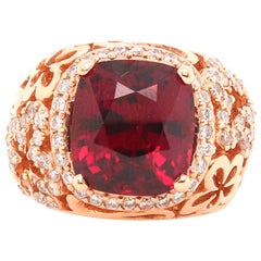 9.96 Carat Rhodolite Garnet and Diamond Ring