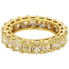 9.97 Carat Fancy Yellow, Radiant Cut Diamond Eternity Band Ring