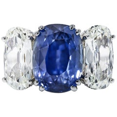 GIA Certified 14.04 Carat Cushion Cut Sapphire and Cushion Diamond Platinum Ring