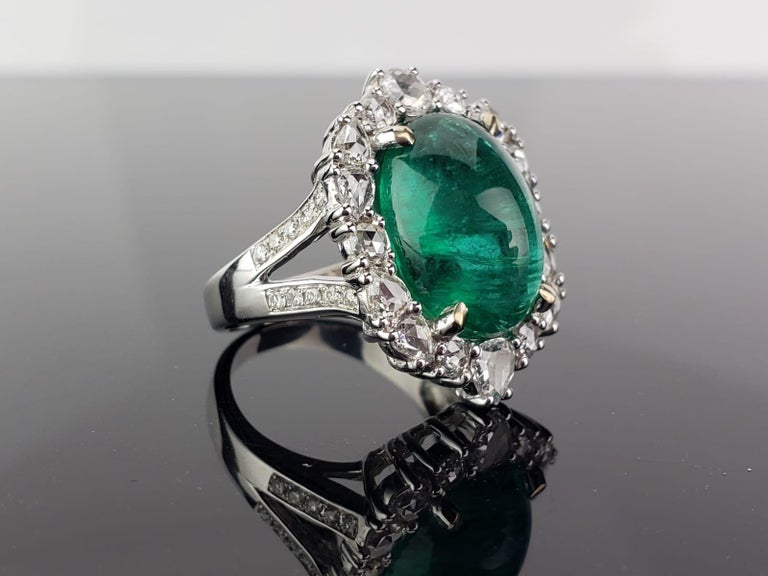 Modern 9.98 Carat Emerald Cabochon and Diamond Cocktail Engagement Ring For Sale