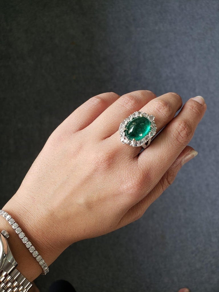 Women's 9.98 Carat Emerald Cabochon and Diamond Cocktail Engagement Ring For Sale