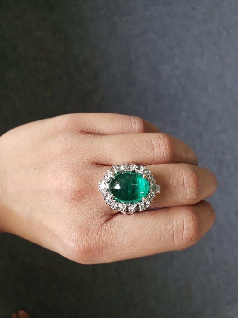 9.98 Carat Emerald Cabochon and Diamond Cocktail Engagement Ring For Sale 1