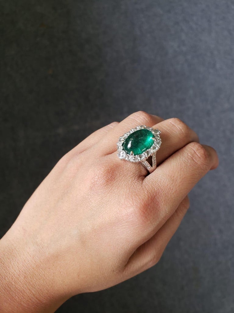 9.98 Carat Emerald Cabochon and Diamond Cocktail Engagement Ring For Sale 2