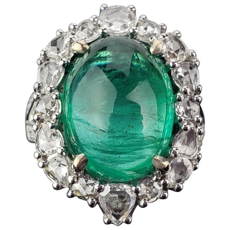 9.98 Carat Emerald Cabochon and Diamond Cocktail Engagement Ring For Sale