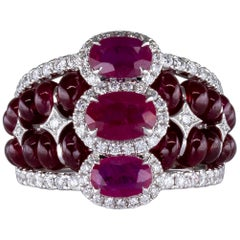 9.98 Carat Faceted and Cabochon Rubies Ring with Diamonds 18 Karat Gold