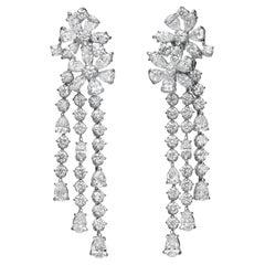 9.98 Carat Multi-Shape Diamond 18 Karat White Gold Chandelier Earrings