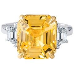 9.99 Carat No Heat Yellow Sapphire Asscher Cut Ring, (GIA), with Side Diamonds