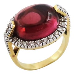 9.995 Carat Oval Pink Tourmaline Gold Diamonds Ring