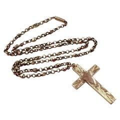 9ct 375 Antique Cross & Chain