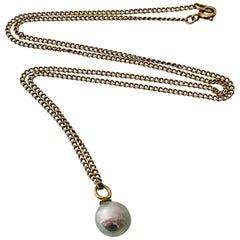 9ct 375 Gold Antique Blue Baroque Pearl Necklace