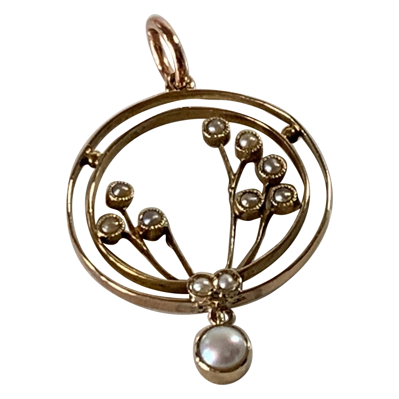 9ct 375 Gold Antique Pearl Pendant