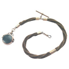 9ct Gold Antique Mourning Hair Fob Chain