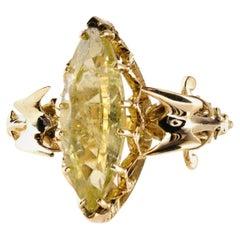 9 Carat Gold Marquise Yellow Aquamarine Gargoyle Alternative Gothic Ring