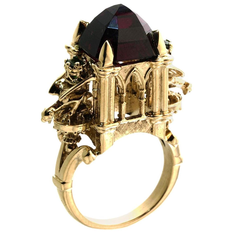 9ct Gold Rhodolite Garnet Cathedral Ring Gothic Victorian Style