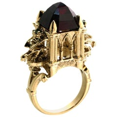 9ct Gold Rhodolite Garnet Cathedral Ring Gothic Victorian Style with Gargoyles