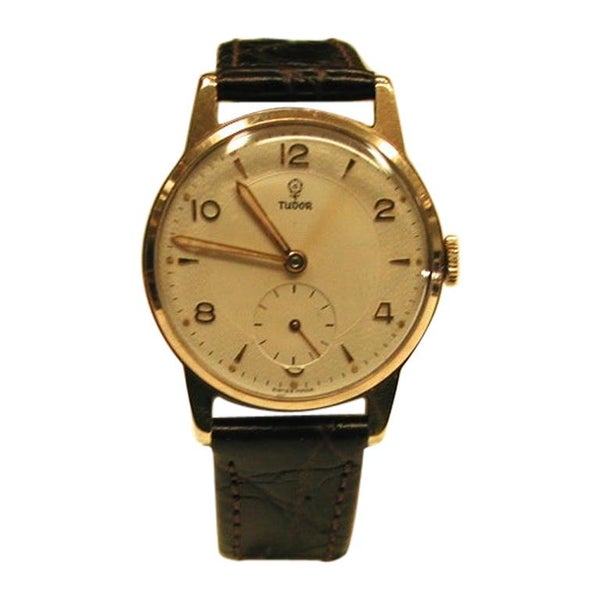 9 Carat Gold Tudor Watch with 15 Ruby Tudor Movement and Dennison Case, 1953