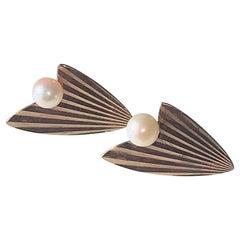 9ct Rose Gold Vintage Pearl Atomic Earrings, 1950s