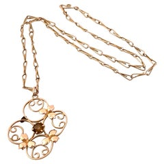 9ct Rose Hint Gold Antique Necklace