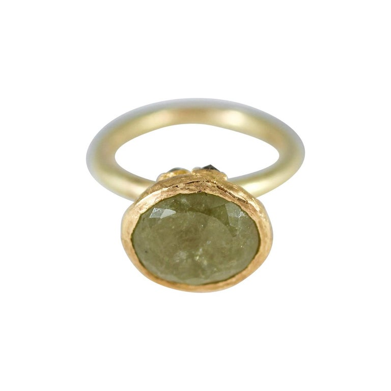9ct Russian Demantoid Garnet Solitaire Yellow Diamonds 22k Gold Cocktail Ring For Sale