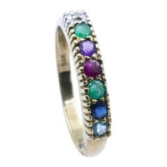9ct Yellow Gold Dearest Ring, 'Diamond, Emerald, Amethyst, Ruby, Sapphire,Topaz'