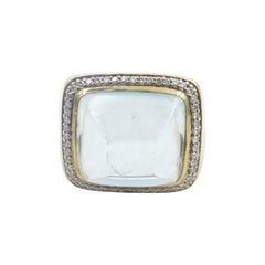 9ct Yellow Gold Prasiolite & Diamond Ring