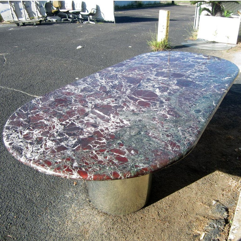 Mid-Century Modern Levanto Marble Conference Dining Table For Sale