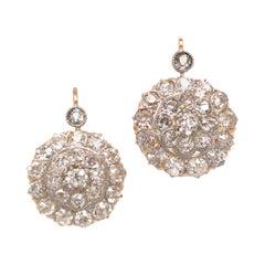 9k Antique Nahmias Old Miner Diamond Flower Cluster Earrings Two-Tone Gold