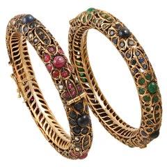 9k Gold Two Bangle Bracelets