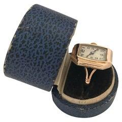 9 Karat Gold Vintage 1920s Mechanical Ring Watch