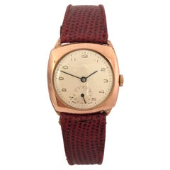 9 Karat Gold Vintage 1950s Cushion Shape Mechanical Watch