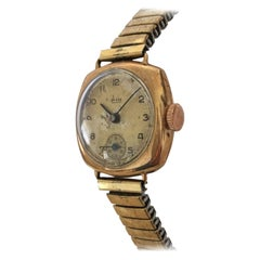 9 Karat Gold Vintage Ladies Avia Wristwatch with Flexible Strap