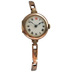9 Karat Rose Gold Ladies Antique Trench Watch