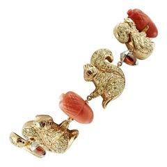 9 Karat Yellow Gold and Silver Squirrel Bracelet