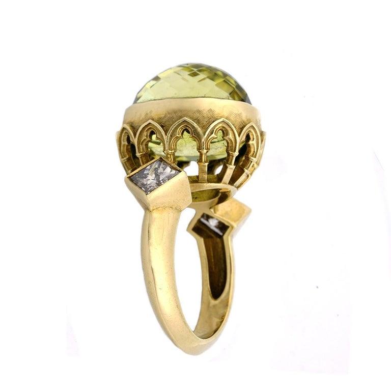 Gothic Revival 9 Karat Yellow Gold Gothic Arch Lemon Quartz and Diamond Ring For Sale