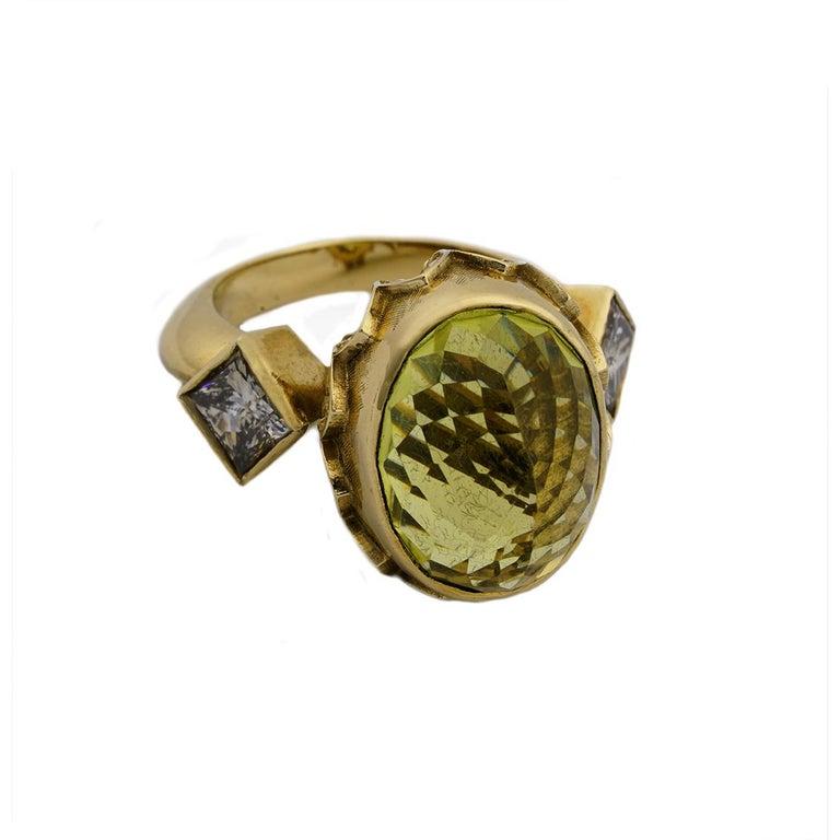 Oval Cut 9 Karat Yellow Gold Gothic Arch Lemon Quartz and Diamond Ring For Sale