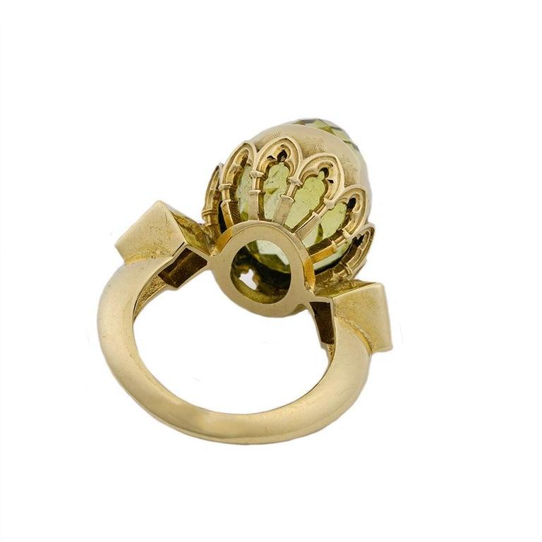9 Karat Yellow Gold Gothic Arch Lemon Quartz and Diamond Ring For Sale 1