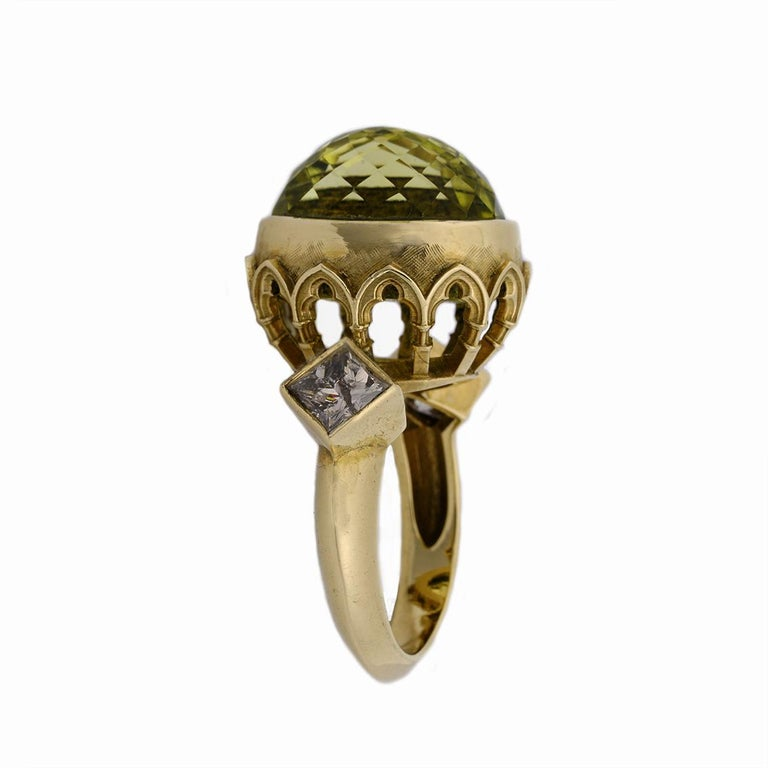 9 Karat Yellow Gold Gothic Arch Lemon Quartz and Diamond Ring For Sale 2