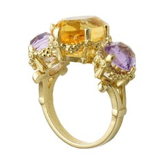 9kt Yellow Gold, Amethyst & Citrine Ring