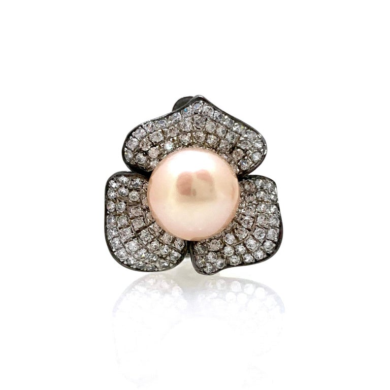 Round Cut 9mm Akoya Pearl and Pave Flower Black Rhodium Sterling Silver Clip Earrings For Sale