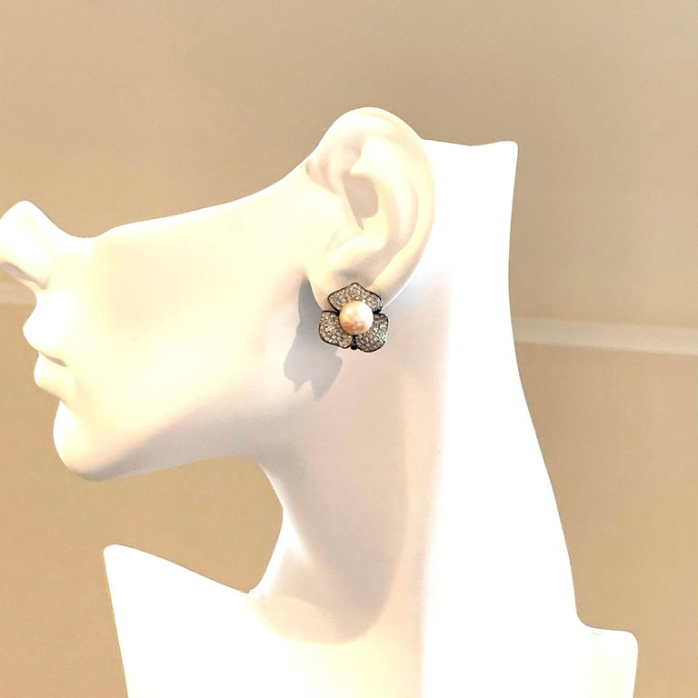 Women's 9mm Akoya Pearl and Pave Flower Black Rhodium Sterling Silver Clip Earrings For Sale